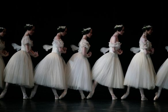 The corps of Paris Opera Ballet, Giselle Act II. Photo: Sébastien Mathé
