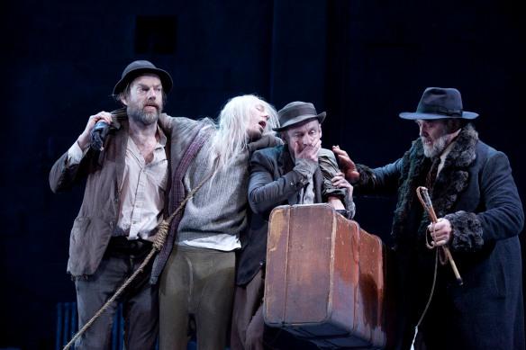 Weaving, Luke Mullins (Lucky), Roxburgh and Philip Quast (Pozzo). Photo: Lisa Tomasetti