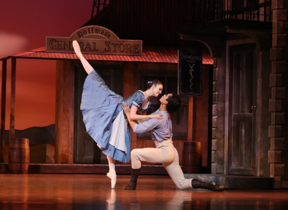 Clare Morehen and Huant Junshuang in Queensland Ballet's Coppelia.