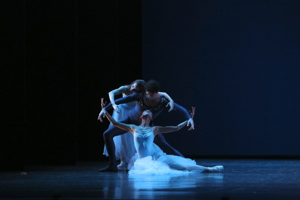 Katherine Rooke (top), Emilio Pavan and Meng Ningning in Serenade. Photo: David Kelly