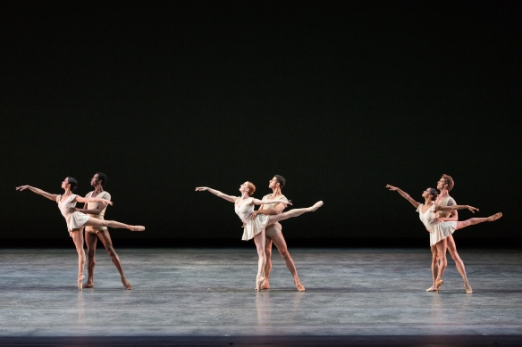 Stella Abrera, Calvin Royal III, Gillian Murphy, Marcelo Gomes, Misty Copeland and James Whiteside in Bach Partita. Photo: Darren Thomas, Photo Co