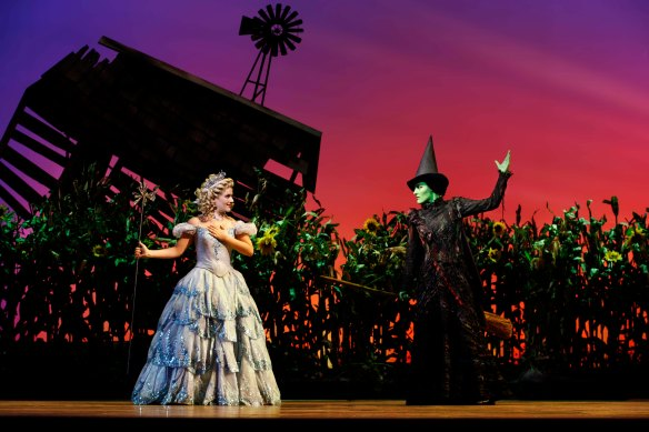 Lucy Durack and Jemma Rix in Wicked. Photo: Jeff Busby