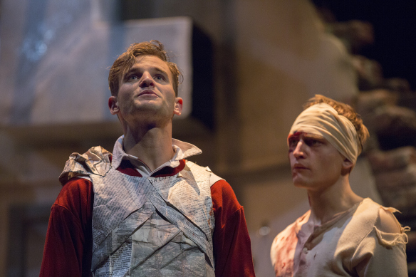 Michael Sheasby and Darcy Brown in Henry V. Photo: Michele Mossop.
