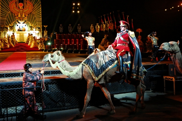 Walter Fraccaro arrives in triumph in Aida. Photo: Prudence Upton