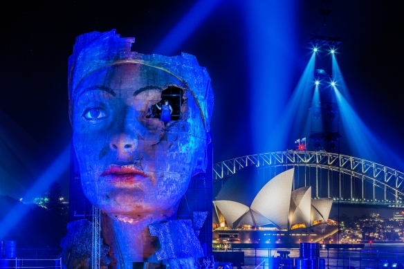 Keeping an eye on things ... Jacqueline Dark as Amnesia is Handa Opera on Sydney Harbour's Aida. Photo: Hamilton Lund