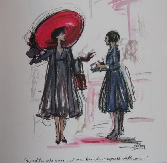 A sketch by Andrea Selby of costumes for An American in Paris
