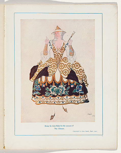 Léon Bakst Costume design for the Chinese from The Sleeping Princess  1921 Souvenir programme for The Sleeping Princess at the Alhambra Theatre Research Library, National Gallery of Australia, Canberra