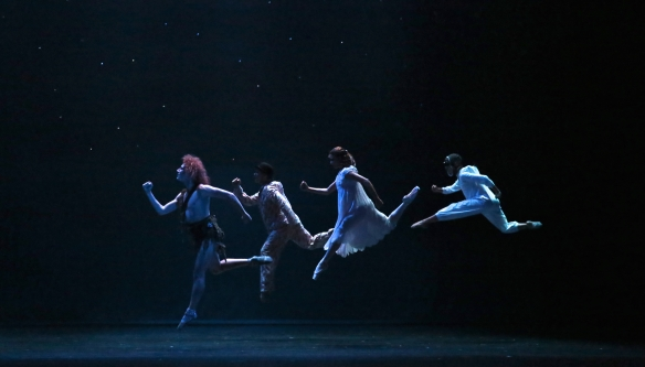 Peter Pan leads the Darling children to Neverland. Photo: David Kelly