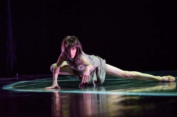 Sylvie Guillem in Akram Khan's techne. Photo: Bill Cooper Choreographer; Akram Khan, Dancer; Sylvie Guillem, Compose;r Alies Sluiter published by Mushroom Music Publishing/BMG Chrysalis Lighting Designer; Lucy Carter, Costume Designer; Kimie Nakano, Dancer; Sylvie Guillem, Musician;s Prathap Ramachandra, Grace Savage, Alies Sluiter,