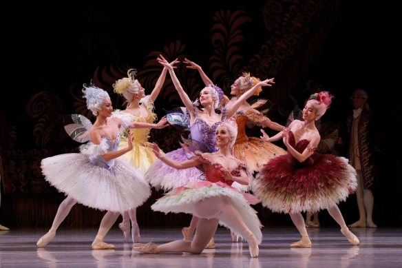 Amber Scott, centre, as the Lilac Fairy in The Australian Ballet's The Sleeping Beauty. Photo: Jeff Busby