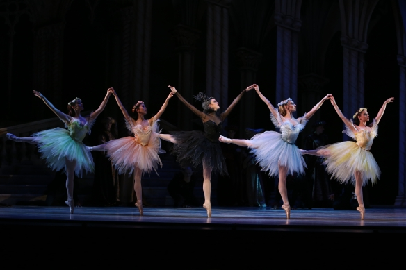 Clare Morehen (centre) as Carabosse. Photo: David Kelly