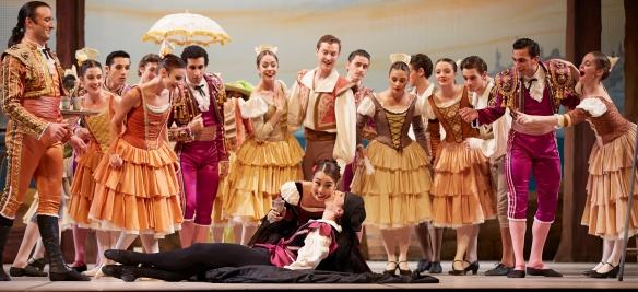 Gakuro Matsui, Chihiro Nomura and dancers of West Australian Ballet in Don Quixote. Photo by Sergey Pevnev